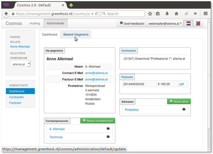 Administratie-Dashboard-kies bewerk gegevens