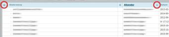 groeperen van de mail op eigenschap kan via de kolom-headers