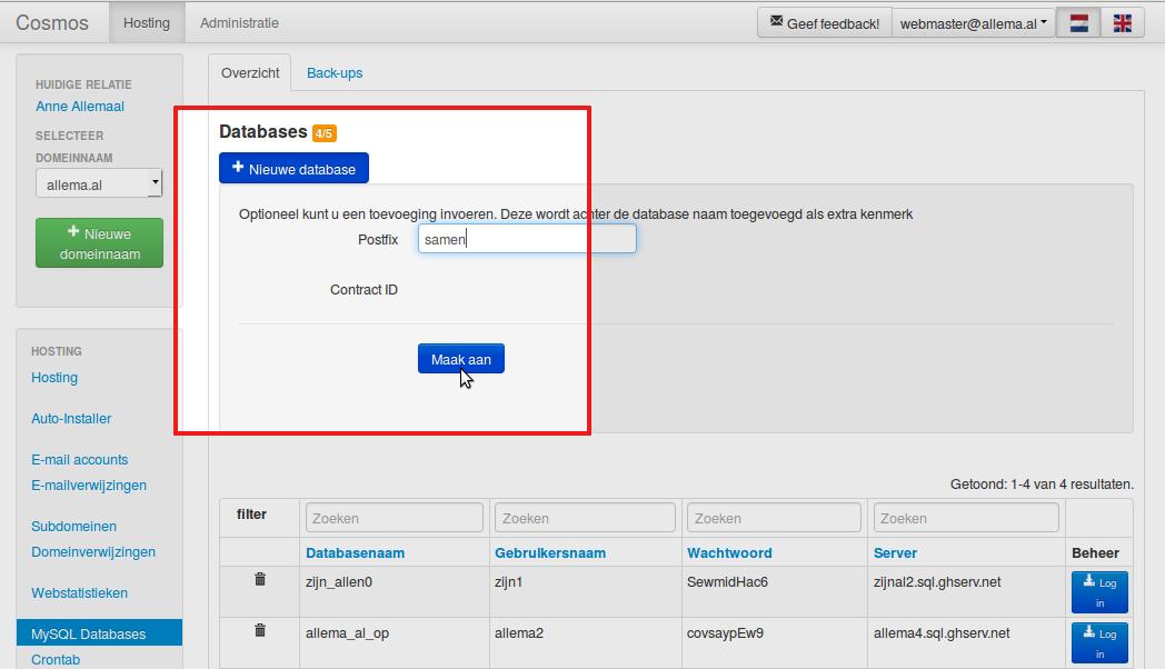 Zodra u op de blauwe knop '+ Nieuwe database' klikt kunt u een label toevoegen, of meteen klikken op 'Maak aan'.