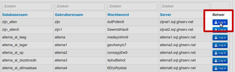 Via de blauwe knop rechts van de database kunt u inloggen op de PHPmyAdmin omgeving