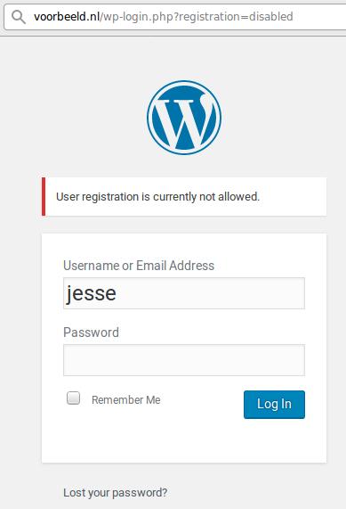 Registratie onmogelijk